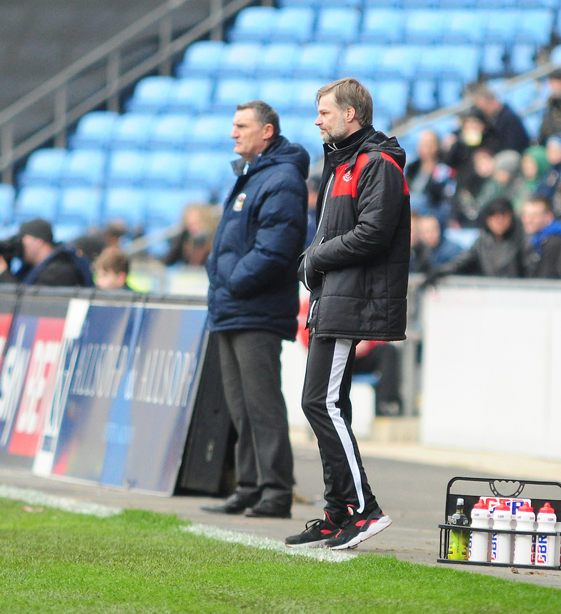 Coventry City manager Tony Mowbray, left and Fleetwood Town manager Steven Pressley, right<br /> <br /> Photographer Andrew Vaughan/CameraSport<br /> <br /> Football - The Football League Sky Bet League One - Coventry City v Fleetwood Town - Saturday 27th February 2016 - Ricoh Stadium - Coventry   <br /> <br /> &copy; CameraSport - 43 Linden Ave. Countesthorpe. Leicester. England. LE8 5PG - Tel: +44 (0) 116 277 4147 - admin@camerasport.com - www.camerasport.com