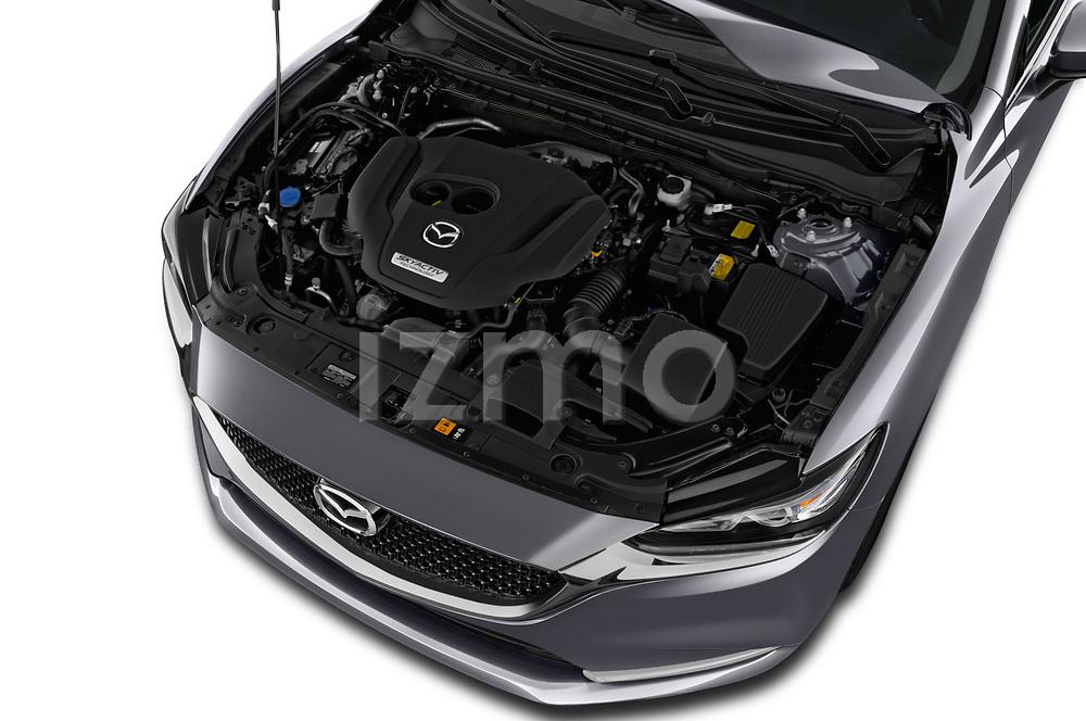 Car stock 2019 Mazda Mazda6 Grand Touring Reserve 4 Door Sedan engine high angle detail view