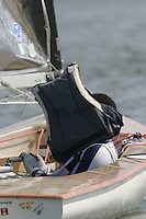 20th SPA Regatta - Medemblik.26-30 May 2004..Copyright free image for editorial use. Please credit Peter Bentley..Hiding from the sun.