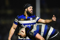 Guy Mercer of Bath Rugby speaks to his team-mates. Anglo-Welsh Cup match, between Bath Rugby and Gloucester Rugby on January 27, 2017 at the Recreation Ground in Bath, England. Photo by: Patrick Khachfe / Onside Images