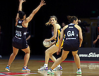 26.07.2015 South Africa's Kayla Mostert in action during the Silver Fern v South Africa netball test match played at Claudelands Arena in Hamilton. Mandatory Photo Credit ©Michael Bradley.