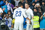 Real Madrid's midfielder Danilo Luiz da Silva and forward Cristiano Ronaldo during the match of La Liga between Real Madrid and   Real Sociedad at Santiago Bernabeu Stadium in Madrid, Spain. January 29th 2017. (ALTERPHOTOS/Rodrigo Jimenez)