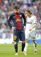 MADRI, ESPANHA, 02 MARÇO 2013 - CAMPEONATO ESPANHOL - REAL MADRID X BARCELONA - Lionel Messi jogador do Barcelona durante partida contra o Real Madrid em partida pela 26 rodada do Campeonato Espanhol, neste sabado, 02. (FOTO: ALEX CID-FUENTES / ALFAQUI / BRAZIL PHOTO PRESS).