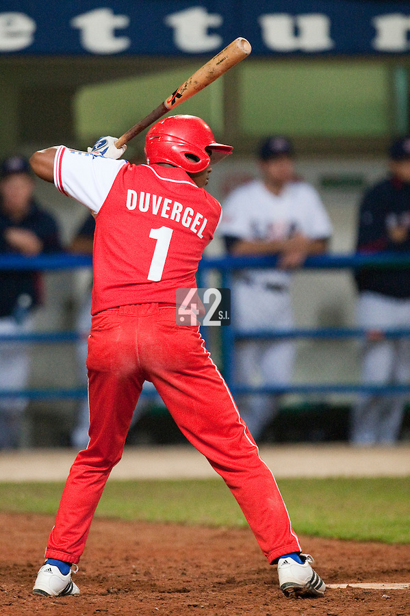 24 September 2009: Giorvis Duvergel of Cuba is seen at bat during the 2009 Baseball World Cup final round match won 5-3 by Team USA over Cuba, in Nettuno, Italy.