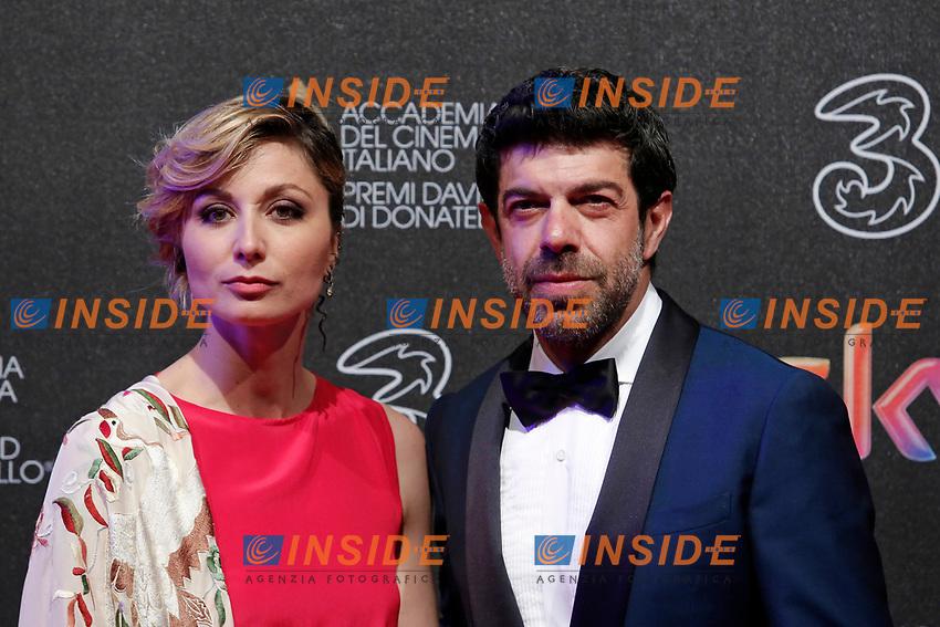 Pierfrancesco Favino con la moglie Anna Ferzetti<br /> Roma 27-03-2017. Premio David di Donatello 2017.<br /> Rome March 27th 2017. David di Donatello ceremony 2017. <br /> Foto Samantha Zucchi Insidefoto