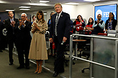 United States President Donald J. Trump greets employee at the National Response Coordination Center inside the FEMA headquarters on June 6, 2018 in Washington, DC. <br /> Credit: Yuri Gripas / Pool via CNP