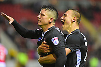 Lincoln City's Billy Knott celebrates scoring his side's equalising goal to make the score 1-1 with team-mate Harry Anderson<br /> <br /> Photographer Andrew Vaughan/CameraSport<br /> <br /> The Carabao Cup First Round - Rotherham United v Lincoln City - Tuesday 8th August 2017 - New York Stadium - Rotherham<br />  <br /> World Copyright &copy; 2017 CameraSport. All rights reserved. 43 Linden Ave. Countesthorpe. Leicester. England. LE8 5PG - Tel: +44 (0) 116 277 4147 - admin@camerasport.com - www.camerasport.com