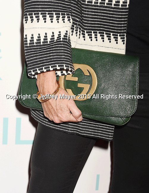 HOLLYWOOD, CA - OCTOBER 21: Actress Minnie Driver, handbag, bracelet detail, at the premiere of Broad Green Pictures' 'I Smile Back' at ArcLight Cinemas on October 21, 2015 in Hollywood, California.