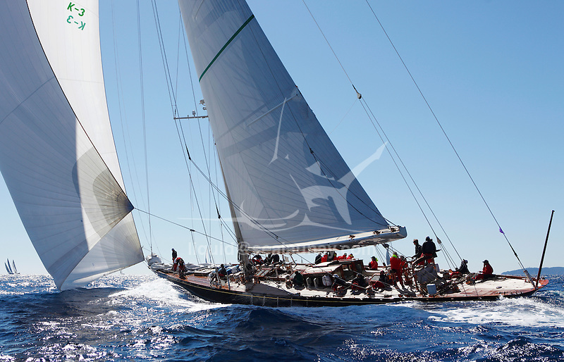 "Shamrock V (JK3) during ""Les Voiles de Saint Tropez"", France..Shamrock V was built in 1930 for Sir Thomas Lipton's fifth and last America's Cup challenge. Designed by Nicholson, she was the first British yacht to be built to the new J Class Rule and is the only remaining J to have been built in wood."