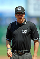 International League Umpire Adam Hamari during a game between the Pawtucket Red Sox and Toledo Mud Hens on May 1, 2011 at McCoy Stadium in Pawtucket, Rhode Island. Photo by Ken Babbitt/Four Seam Images.