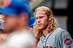 1 August 2018: New York Mets starting pitcher Noah Syndergaard looks out from the dugout during a game against the Washington Nationals at Nationals Park in Washington, DC. The Nationals defeated the Mets 5-3 to sweep the 2-game weekday series. Mandatory Credit: Ed Wolfstein Photo *** RAW (NEF) Image File Available ***
