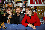 """Cast of Days Of Our Lives -  Lauren Koslow """"Kate Roberts"""", Stephen Nichols  & Diedre Hall sign book """"Days Of Our Lives 50 Years"""" by Greg Meng - author & co-executive producer on October 27, 2015 at Books & Greetings, Northvale, New Jersey. (Photo by Sue Coflin/Max Photos)"""