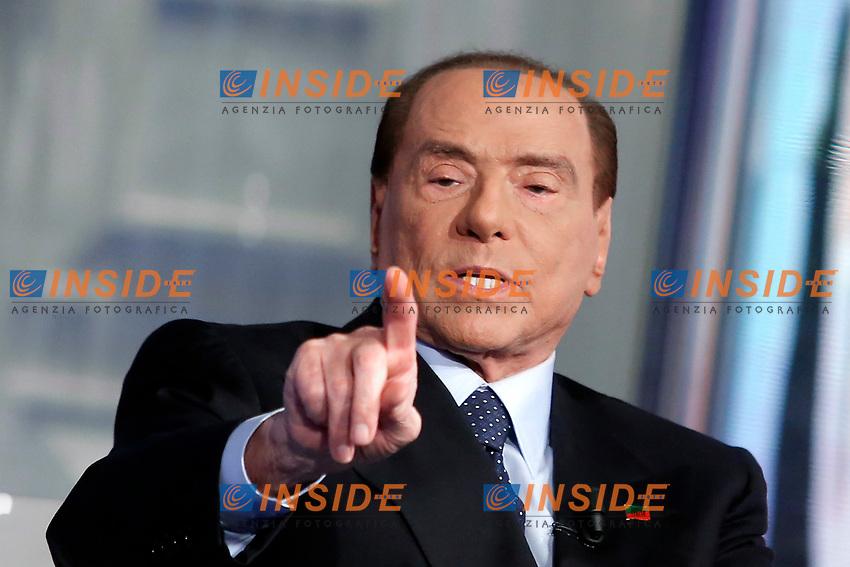 Silvio Berlusconi<br /> Roma 11/01/2018. Trasmissione tv Rai 'Porta a Porta'.<br /> Rome January 11th 2018. Silvio Berlusconi appears as a guest on the talk show 'Porta a Porta' in Rome<br /> Foto Samantha Zucchi Insidefoto