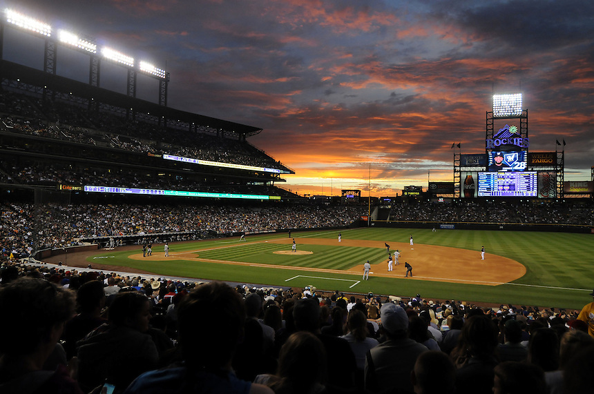 14 JULY 2011: A view from the seats behind first base as the sun sets in this general view during a regular season game between the Milwaukee Brewers and the Colorado Rockies at Coors Field in Denver, Colorado. The Rockies beat the Brewers 12-3. *****For Editorial Use Only*****