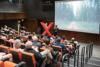 """Marquita Thomas '95, Executive Director of the Los Angeles Gay & Lesbian Chamber of Commerce, talks about """"Economic Advancements for LGBTQ Entrepreneurs.""""<br /> Occidental College hosts TEDxOccidentalCollege on April 21, 2018 in Choi Auditorium of Johnson Hall. Students, faculty, alums and guest speakers delivered their TEDx Talk on the theme, Shifting Ecosystems of Power.<br /> (Photo by Marc Campos, Occidental College Photographer)"""