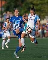 Boston, MA - Saturday August 19, 2017: Julie King, Camila Martins Pereira during a regular season National Women's Soccer League (NWSL) match between the Boston Breakers (blue) and the Orlando Pride (white/light blue) at Jordan Field. Orlando Pride defeated Boston Breakers, 2-1.