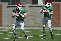 NWA Democrat-Gazette/MICHAEL WOODS &bull; @NWAMICHAELW<br /> University of Arkansas quarterback Austin Allen (8) and Brandon Allen (10) run drills during practice Thursday, August 20, 2015 in Fayetteville.