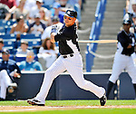 5 March 2011: New York Yankees' fielder Nick Swisher gets a broken bat single during a Spring Training game against the Washington Nationals at George M. Steinbrenner Field in Tampa, Florida. The Nationals defeated the Yankees 10-8 in Grapefruit League action. Mandatory Credit: Ed Wolfstein Photo