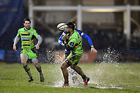 Ahsee Tuala of Northampton Saints looks to gather the ball. Anglo-Welsh Cup Semi Final, between Bath Rugby and Northampton Saints on March 9, 2018 at the Recreation Ground in Bath, England. Photo by: Patrick Khachfe / Onside Images