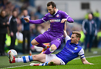 Bolton Wanderers' Adam Le Fondre is tackled by Sheffield Wednesday's Tom Lees<br /> <br /> Photographer Chris Vaughan/CameraSport<br /> <br /> The EFL Sky Bet League Two - Mansfield Town v Lincoln City - Tuesday 6th March 2018 - Field Mill - Mansfield<br /> <br /> World Copyright &copy; 2018 CameraSport. All rights reserved. 43 Linden Ave. Countesthorpe. Leicester. England. LE8 5PG - Tel: +44 (0) 116 277 4147 - admin@camerasport.com - www.camerasport.com