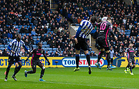 Leeds United's Ezgjan Alioski (right) heads at goal<br /> <br /> Photographer Andrew Kearns/CameraSport<br /> <br /> The EFL Sky Bet Championship - Sheffield Wednesday v Leeds United - Saturday 26th October 2019 - Hillsborough - Sheffield<br /> <br /> World Copyright © 2019 CameraSport. All rights reserved. 43 Linden Ave. Countesthorpe. Leicester. England. LE8 5PG - Tel: +44 (0) 116 277 4147 - admin@camerasport.com - www.camerasport.com