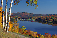 lake, fall, Barnet, VT, Vermont, Scenic view of the colorful foliage around Harveys Lake in the autumn.