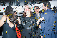 "Heidi Helgerson (center) poses with fellow Design Foundry employees for pictures in the 360 Glam Cam at the MSNBC After Party at the United States Institute of Peace in Washington, DC. The resulting pictures provide a 360 degree rotating view of the subjects frozen in time, similar to the ""bullet time"" effect in The Matrix. Design Foundry designed the after party event. The party followed the annual White House Correspondents Association Dinner on Saturday, April 30, 2016. The party continued until about 3 AM on Sunday, May 1, 2016."