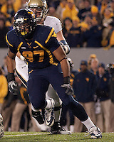 WVU defensive lineman Julian Miller. The West Virginia Mountaineers defeated the Pittsburgh  Panthers 19-16 on November27, 2009 at Mountaineer Field at Milan Puskar Stadium, Morgantown, West Virginia.