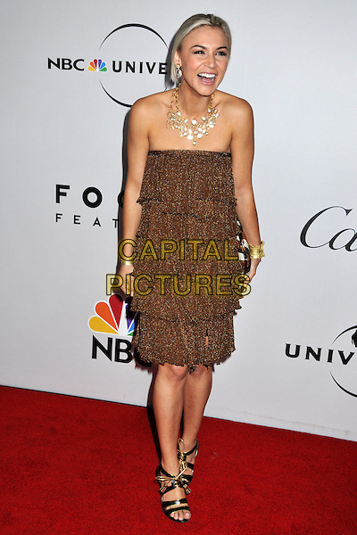 SAMAIRE ARMSTRONG.NBC Universal 66th Annual Golden Globes Post Party at the Beverly Hilton Hotel, Beverly Hills, California, USA..January 11th, 2009.full length brown bronze gold layers layered dress strapless black sandals mouth open laughing .CAP/ADM/BP.©Byron Purvis/AdMedia/Capital Pictures.