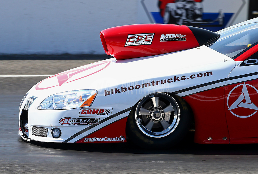 Jun. 1, 2013; Englishtown, NJ, USA: Detailed view of damage to the front of pro stock driver Mark Martino after taking out the timing blocks at half track during qualifying for the Summer Nationals at Raceway Park. Mandatory Credit: Mark J. Rebilas-