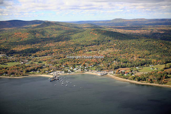 Aerial view of Lincolnville Beach, Lincolnville, Maine, USA