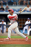 Palm Beach Cardinals designated hitter Austin Wilson (44) follows through on a swing during a game against the Charlotte Stone Crabs on April 11, 2017 at Charlotte Sports Park in Port Charlotte, Florida.  Palm Beach defeated Charlotte 12-6.  (Mike Janes/Four Seam Images)