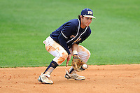 17 April 2010:  FIU's Garrett Wittels (10) fields a ground ball in the sixth inning as the FIU Golden Panthers defeated the University of New Orleans Privateers, 6-4, at University Park Stadium in Miami, Florida.