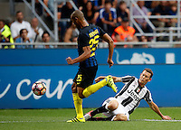 Calcio, Serie A: Inter vs Juventus. Milano, stadio San Siro, 18 settembre 2016.<br /> Inter's Miranda, left, is challenged by Juventus&rsquo; Stephan Lichsteiner during the Italian Serie A football match between FC Inter and Juventus at Milan's San Siro stadium, 18 September 2016.<br /> UPDATE IMAGES PRESS/Isabella Bonotto