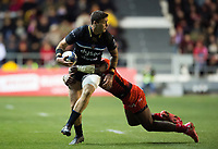 Matt Banahan of Bath Rugby is tackled in possession. European Rugby Champions Cup match, between RC Toulon and Bath Rugby on December 9, 2017 at the Stade Mayol in Toulon, France. Photo by: Patrick Khachfe / Onside Images
