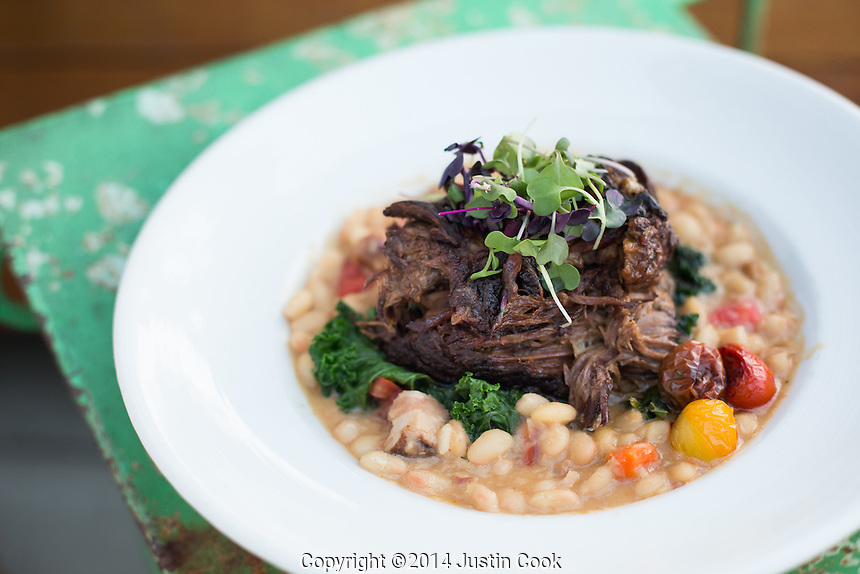 Short rib with white bean ragu, kale, and smoked tomato at Farm Table in Wake Forest, N.C. on Wednesday, September 17, 2014. (Justin Cook)