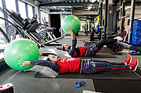 (L-R) Leon Britton and Kyle Bartley exercise in the gym during the Swansea City Training and Press Conference at The Fairwood Training Ground, Swansea, Wales, UK. Thursday 25 January 2018