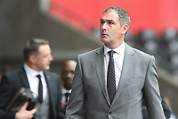 Swansea City manager Paul Clement arrives at Liberty Stadium prior to kick of the Premier League match between Swansea City and Huddersfield Town at The Liberty Stadium, Swansea, Wales, UK. Saturday 14 October 2017