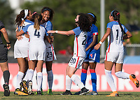 Bradenton, FL - Sunday, June 10, 2018: USA goal celebration prior to a U-17 Women's Championship match between the United States and Haiti at IMG Academy.  USA defeated Haiti 3-2 to advance to the finals.