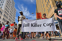 Philadelphia, PA - July 26, 2016: Members of 'Philly Real Justice,' Veterans for peace, and other groups march down South St. to City Hall in Philadelphia, PA. during the Democratic National Convention, July 26, 2016.  (Photo by Don Baxter/Media Images International)