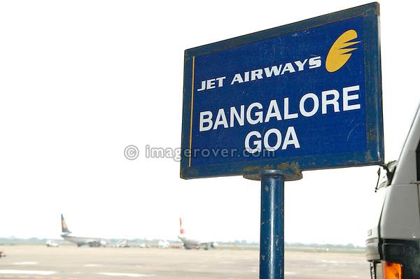 India, Tamil Nadu, Chennai (Madras). Chennai Airport, flight sign to Goa via Bangalore.
