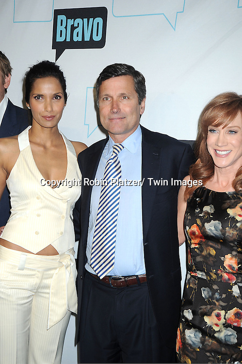 Padma Lakshmi, Steve Burke and Kathy Griffin attends the Bravo Upfront on April 4, 2012 at 548 West 22nd Street in New York City.