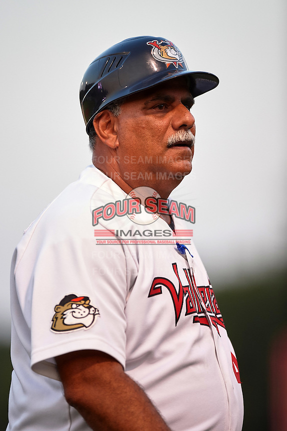 Tri-City ValleyCats manager Ed Romero (48) during a game against the Brooklyn Cyclones on September 1, 2015 at Joseph L. Bruno Stadium in Troy, New York.  Tri-City defeated Brooklyn 5-4.  (Mike Janes/Four Seam Images)