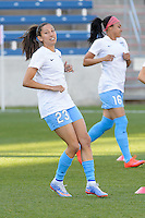 Bridgeview, IL, USA - Saturday, April 23, 2016: Chicago Red Stars forward Christen Press (23) warms up before a regular season National Women's Soccer League match between the Chicago Red Stars and the Western New York Flash at Toyota Park. Chicago won 1-0.