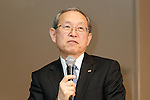 Toshiba Corp. President Satoshi Tsunakawa speaks during a news conference at the company headquarters on January 27, 2017, Tokyo, Japan. Toshiba announced plans to split off part of its core memory chip business (excluding the image sensor business) to raise money in the face of excessive debt generated by its US nuclear business. The announcement came after Toshiba's board approved the decision earlier on Friday, January 27. (Photo by Rodrigo Reyes Marin/AFLO)