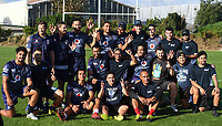 New Zealand Deaf Rugby Football Union players known as the Deaf Blacks play a game of touch and then pose for a photo with the Warriors in support of Sign Language week. Vodafone Warriors training session. Mt Smart Stadium, Auckland, New Zealand. NRL Rugby League. Wednesday 9 May 2018 © Copyright photo: Andrew Cornaga / www.photosport.nz