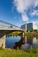 Centennial bridge crosses the Chena River in downtown Fairbanks, Rabbinowitz courthouse, Interior, Alaska