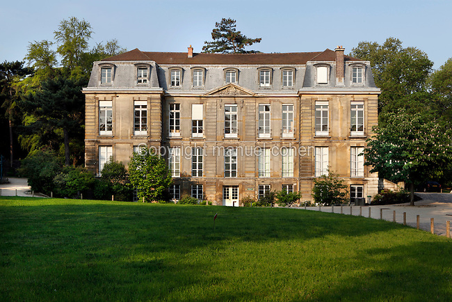 General view of the Hotel de Magny (formerly Pavillon Cuvier) which houses the Cabinet d'Histoire (History office), was built between 1696 and 1700 by Pierre Bullet and is located in the Jardin des Plantes, Paris, 5th arrondissement, France. Founded in 1626 by Guy de La Brosse, Louis XIII's physician, the Jardin des Plantes, originally known as the Jardin du Roi, opened to the public in 1640. It became the Museum National d'Histoire Naturelle in 1793 during the French Revolution. Picture by Manuel Cohen