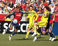 Columbus Crew Midfielder Danny O'Rourke (5) and Real Salt Lake Midfielder Andy Williams (77) in the Real Salt Lake 1-0 win over Columbus Crew in Game 1 of the Semi-Finals of the MLS Playoffs on October 31, 2009 at  Rio Tinto Stadium in Sandy, Utah