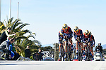 Bahrain-Merida team in action during the 1st stage of the race of the two seas, 52nd Tirreno-Adriatico by NamedSport a 22.7km Team Time Trial around Lido di Camaiore, Italy. 8th March 2017.<br /> Picture: La Presse/Fabio Ferrari | Cyclefile<br /> <br /> <br /> All photos usage must carry mandatory copyright credit (&copy; Cyclefile | La Presse)